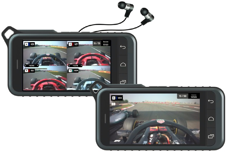 Watch the action from quad views, in-car camera